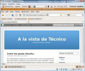Blog visto en el Firefox de UBUNTU